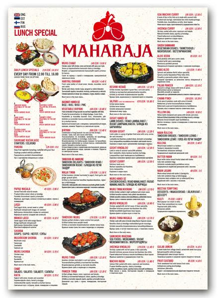 Maharaja_menuu_kujundus