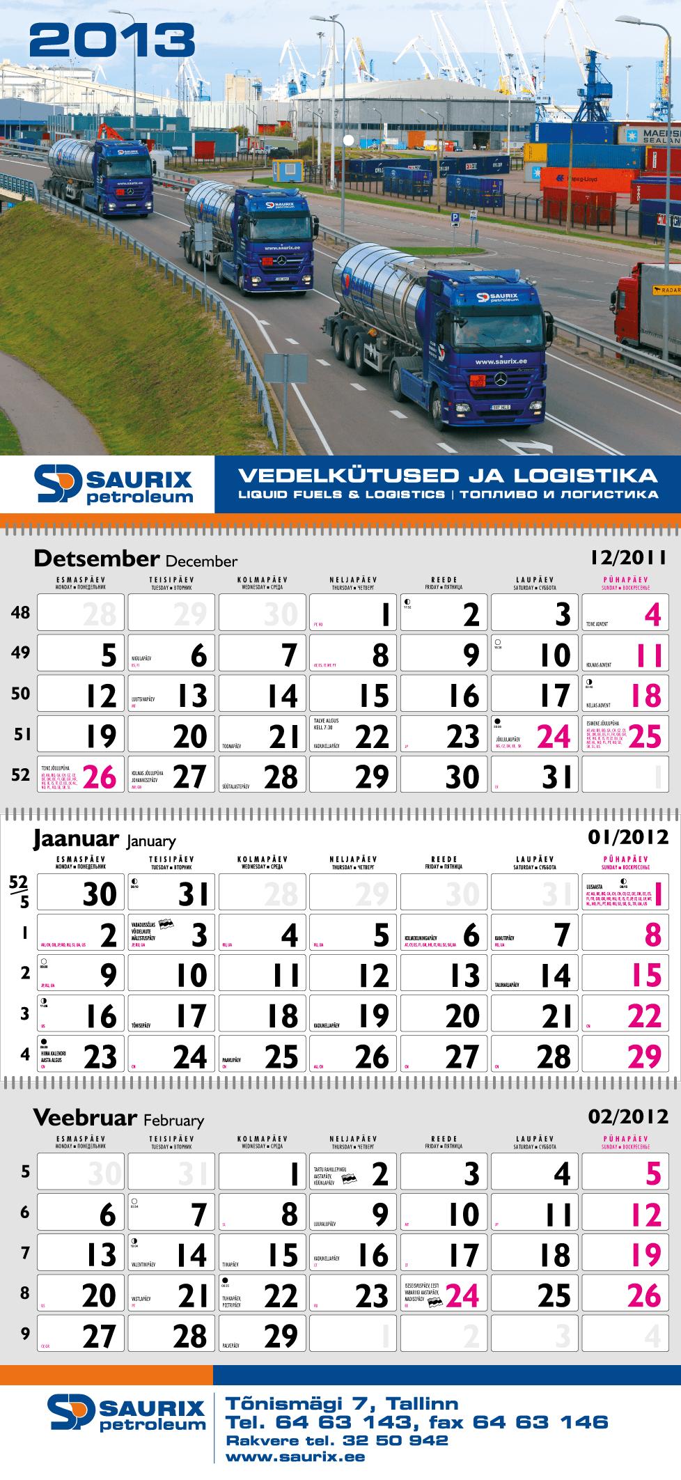Saurix kalendri kujundus big