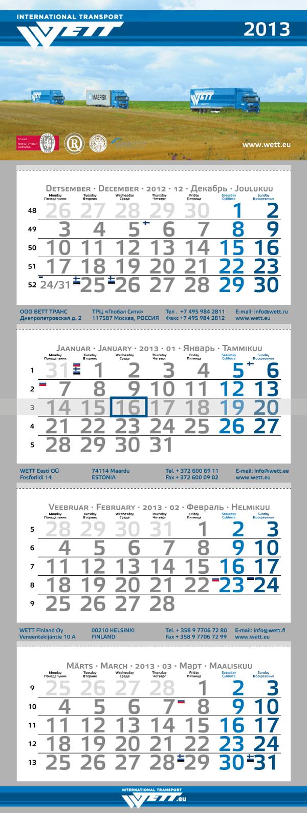 Wett Calendar 2013 kalendri kujundus big