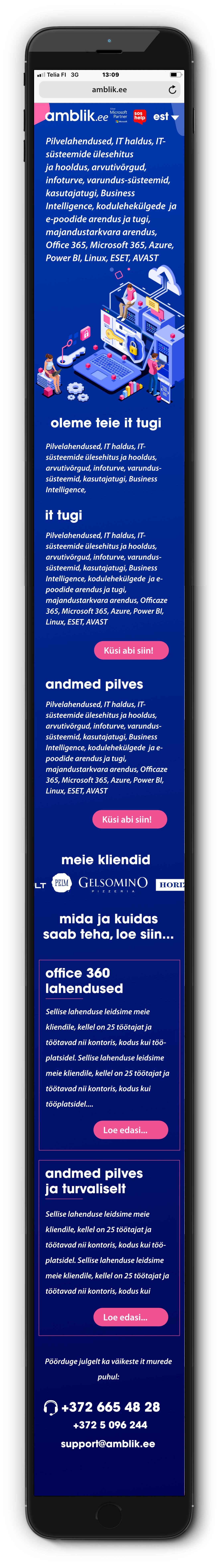 amblik.ee mobiilse kodulehe kujundus