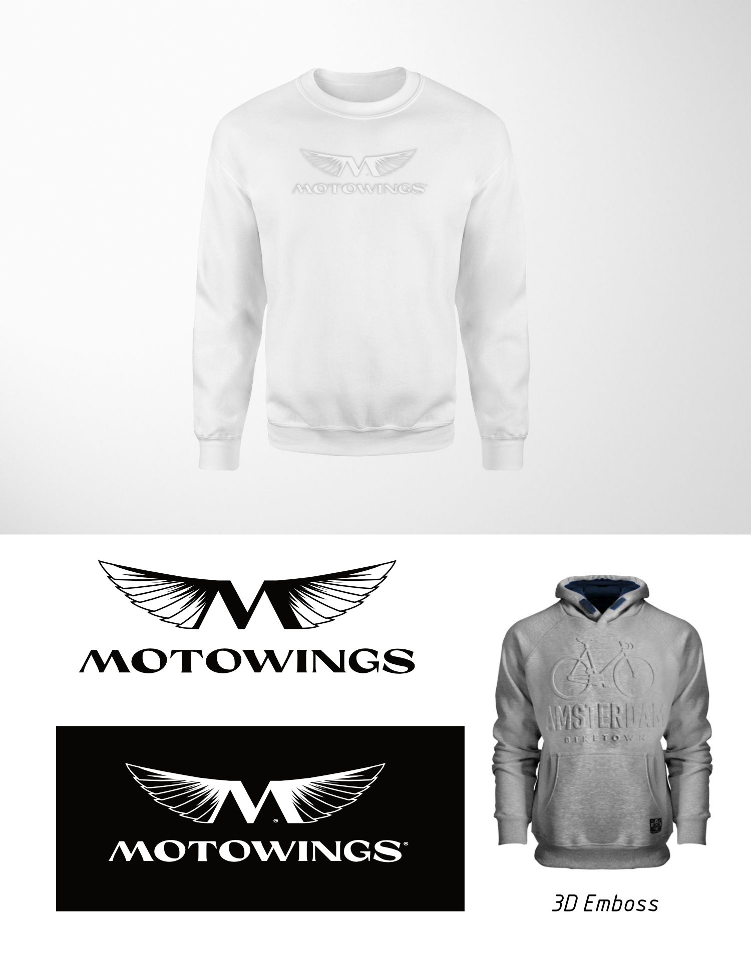 motowings hoodie emboss